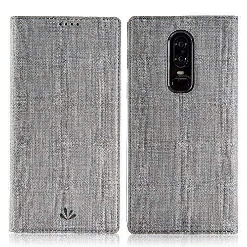 Flip Cover Case (Eastcoo Oneplus 6 Hülle PU Leder Flip Case Tasche Cover Schutzhülle mit [Standfunktion][Magnetic Closure][Wallet]für Oneplus 6 Smartphone (Gray))