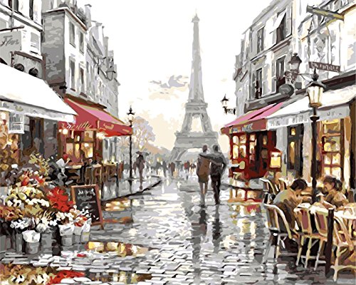 [ Wooden Framed or not ] [ New Release ] Diy Oil Painting by Numbers, Paint by Number Kits - Eiffel Tower Street View 16*20 inches Linen Canvas - Digital Oil Painting Canvas Wall Art Artwork Landscape Paintings for Home Living Room Office White Christmas