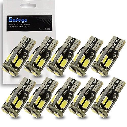 Safego 10x T10 W5W Wedge 2825 194 168 10SMD 5730 Ampoules LED Pour Intérieur Inverse Sauvegarde Blanc 6000K DC 12V