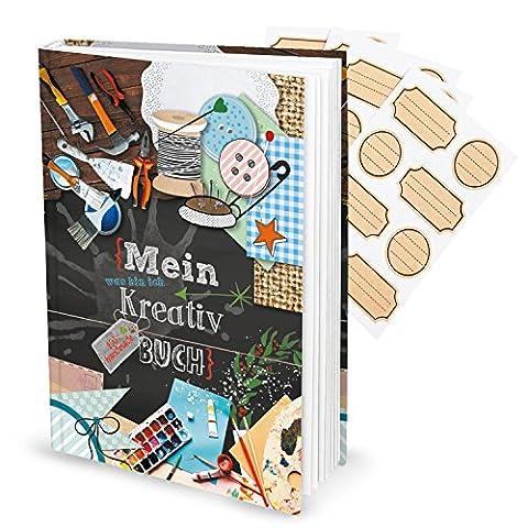 Kreativbuch (Hardcover, A4) inkl. Aufkleber; 164 leere Seiten inkl. Inhaltsverzeichnis, die nur darauf warten mit Ideen gefüllt zu werden; das perfekte Geschenkset zu Geburtstag, Weihnachten