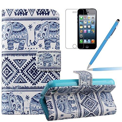 Felfy Iphone 6 Plus Custodia Cover, Elegante Borsa Magnetico Portafoglio PU Pelle Flip Custodia Protettiva Case Cover Protezione Chiusura Ventosa (Torta) per Apple Iphone 6 Plus + 1x Stilo Penna + 1x  blu elefante