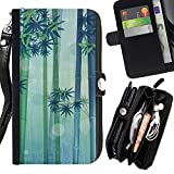 Graphic4You BAMBOO SCENERY Muster Zipper Brieftasche mit Strap Hülle Tasche Schale Schutzhülle für LG X Cam