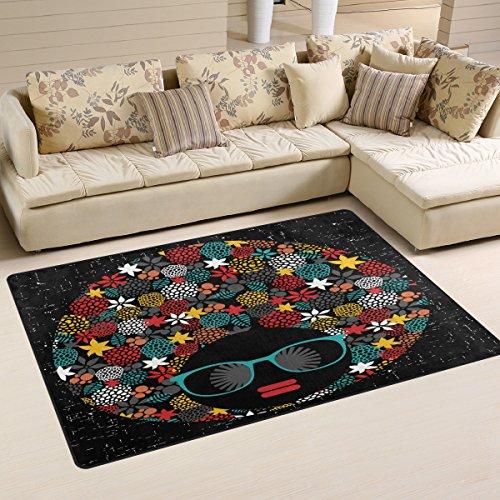 coosun Hippie negro cabeza mujer con extraño de pelo área alfombra alfombra alfombra de suelo antideslizante Doormats para salón o dormitorio 60x 39cm, tela, multicolor, 60 x 39 inch