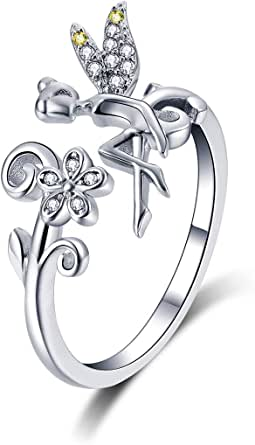BAMOER 925 Sterling Silver Unique Design Open Band Ring, Platinum Plated Elegant Rings for Girl for Women
