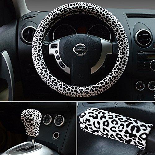 HONCENMAX 3 Pack Felpa Morbido Veicolo Coprivolante Comodo Inverno Protezione per Volante dell'automobile Universale Diametro 38 cm (15') Stampa Leopardo