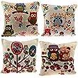 Cushion Covers, YIFAN Set of 4 Cute Owl Pattern Cotton Linen Square Decorative Pillowcase 43cm x 43cm