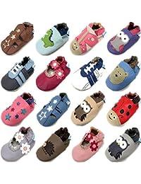 MiniFeet Chaussures Bébé - Chaussons Bébé - Chaussons Cuir Souple - Chaussures Cuir Souple - Chaussures Premiers Pas - Chaussures Bébé Fille - 0-6, 6-12, 12-18, 18-24 Mois et 2-3 Ans