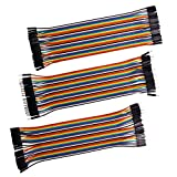 JTDEAL 120pcs Câbles DuPont(Longeur de 20Cm, distants de 2,54 mm), Multicolore Fil Wire Jumper 3 Nappes de 40 Fils M/M, M/F et F/F pour des Branchements, Raspberry PI, Ordinateurs, Arduinos