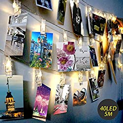 LED Photo Clip String Lights - Exqline 40 Photo Peg Lights 5M Battery Powered Fairy Lights Perfect for Hanging Photos, Notes, Paintings Card and Memos Indoor Outdoor Decoration - Warm White