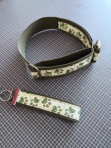 Zugstopp-Halsband - Khaki-Pfoten - 45 cm HU + Schlüsselanhänger