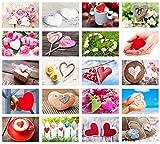 Set 20 Postkarten mit Herz Motiven - Postkarten zur Hochzeit - Geschenkidee - Hochzeitsspiel - Postkarten Liebe - Postcrossing - Geburtstag
