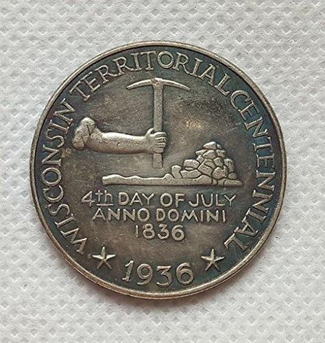 Bespoke Souvenirs Rare Antique USA United States 1936 Wisconsin Commemorative Half Dollar Silver Color Coin Seltene Münze -