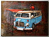 XL Metallbild Bus | Wandbild mit 3D-Effekt | 80 x 60 cm, vintage | Deko für die Wohnung