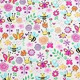 Michael Miller Fat Quarter Baumwollstoff Bienen und Blumen,