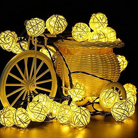TurnRaise 4.8 Metros 20Leds de luz Cadena Iluminación Luces Decorativas Lámpara Cadena de Luces Solar Para Decoración Navidad, Fiesta, Partido (blanco cálido)