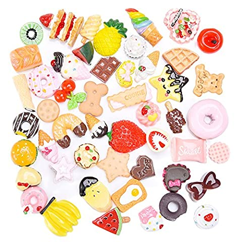 Outus Food Resin Flatback Cabochons Decoden Pieces Mini Food Model, 50 Pieces - Resina Charm
