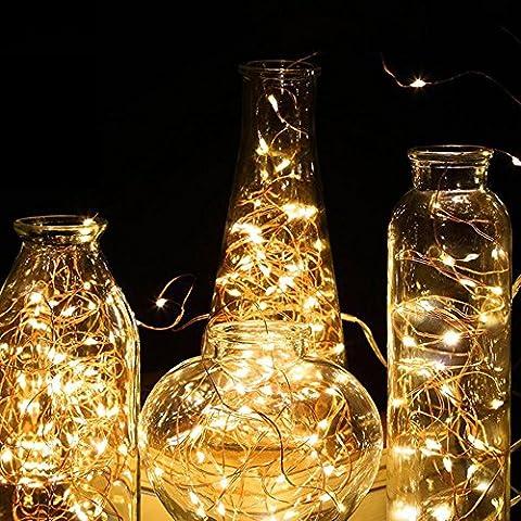 ATPWONZ 2er LED Lichterkette 100er LED Kupferdraht Lichterketten 10 Helligkeitsstufen mit Fernbedienung Warmweiß Wasserdichte Sternen-Beleuchtung ideale Dekoration für Innen, Schlafzimmer, Fenster 10M