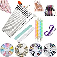 Kit de herramientas para manicura de uñas, pinceles para pintar uñas, pinceles de punto, uñas de estrás, decoración de pegatina, cinta adhesiva para pedicura, 37 unidades