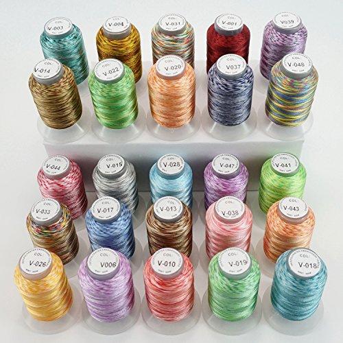 New brothread 25 Multi Farben Polyester Maschinen Stickgarn 500M (550Y) für Brother / Janome / Singer / Babylock / Kenmore / Pfaff / Bernina / Husqvaran Stickereimaschine