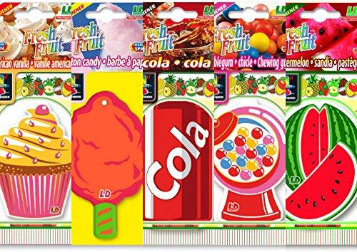 Preisvergleich Produktbild 5 L&D Fresh Fruit Lufterfrischer Bestseller MIX American Vanilla, Bubble Gum, Cola, Cotton Candy, Watermelon