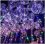 Ababalaya 2/6/8/12 Pcs LED leuchtende bunte Luftballons mit Licht farbigem Band, 24 Stunden Leuchtdauer, für Party, Geburtstag, Hochzeit, Festival, Weihnachten 45cm,Packung von 12