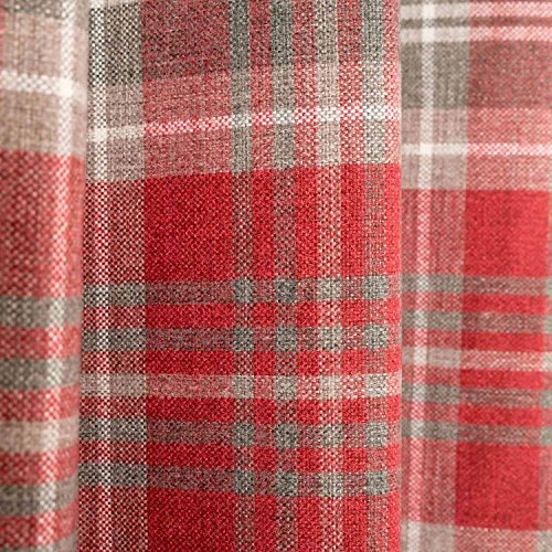 Homescapes Thermal Interlined Red Tartan Curtains Pair Width 167cm (66″) x 182cm (72″) Luxury Faux Wool Heavy Weight Eyelet Ready Made Curtain
