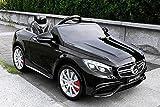 Lizenz Kinderauto Mercedes - Benz S63 AMG 2 x 35W 12V MP3 RC Elektroauto Kinderfahrzeug Ferngesteuert Elektro (Schwarz)