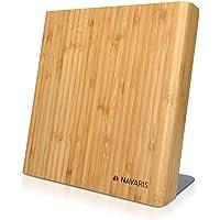 Navaris Bloc à Couteaux magnétique - Bloc aimanté en Bois de Bambou - Range Couteau de Cuisine Vide - Support Vertical…