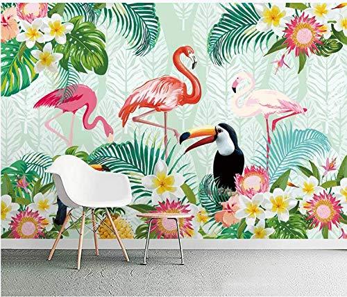 Carta da parati geometrica carta da parati floreale carta da parati adesiva muro bambini original tropical plant parrot flamingo background wall paper mural,200cm*140cm