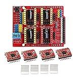 AIHOME CNC Shield Gravurmaschine Expansion Board + 4 Stück A4988 Schrittmotor-Treiber für Arduino...