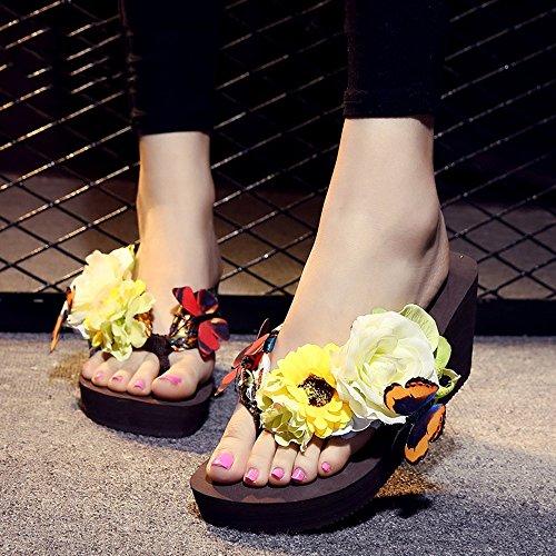 Estate Sandali 7cm I pistoni d'argento femminili di estate dei pattini dell'alto tallone basso spessi Colore / formato facoltativo #4