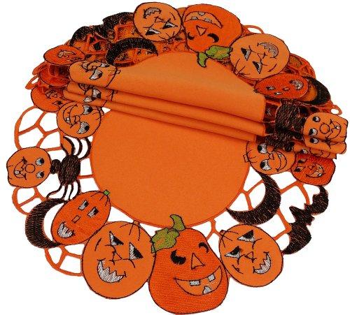 Xia Home Fashions 4er Pack Happy Jack-o-Lanterns rund Halloween Platzdeckchen, Orange, 16-Inch Round