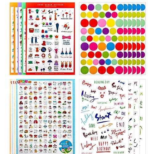 KINBOM 1400+ PlannerStickers, Tägliches, Wöchentliches, Monatliches Planersticker ScrapbookStickers, 23 Blatt Vielzahl Aufkleber Pack für Creative Bullet Journals, Notebook, Scrapbook, DIY Zeichnung -