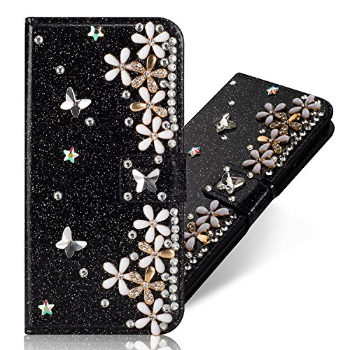 Huawei P20 Pro Leather Case,Huawei P20 Pro Flip Wallet Case,Huawei P20 Pro Cover,Cool 3D Butterfly Sunflower Bling Glitter Diamond Pattern Leather Stand Function Flip Kickstand Magnetic Book Wallet with Card Slot Holder Protective Cover Case for Huawei P20 Pro