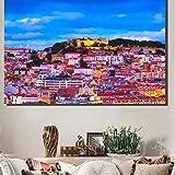 wydlb Lissabon Stadtbild Leinwand, Wandkunst Ölgemälde