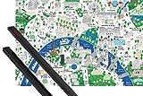 1art1 Poster + Hanger: Paris Poster (91x61 cm) Stadtplan, Jamie Malone Inklusive Ein Paar Posterleisten, Schwarz