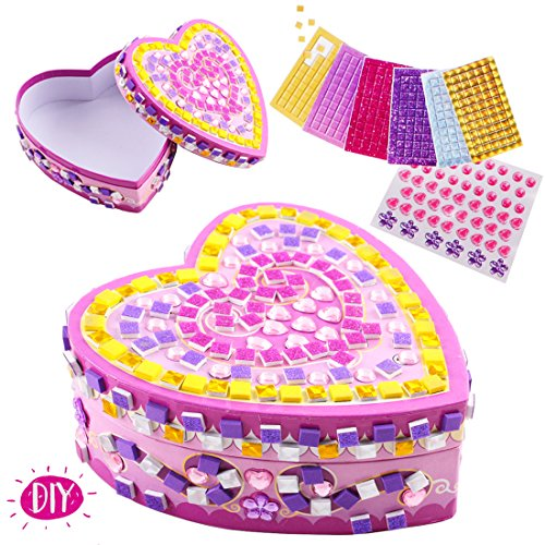 deAO Decorate Your Own Jewellery Box DIY Set Mosaic Craft Kit for Kids Decorative Rhinestones and Stickers