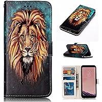 funda Samsung Galaxy S8 cuero PU billetera Dar la vuelta ranura para tarjeta de crédito función stent 3D dibujos animados patrón diseño estuche protector case cover DECHYI león