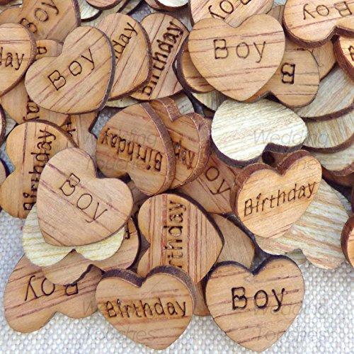 Cumpleaños 15mm corazones de madera Shabby Chic manualidades scrapb