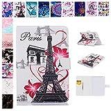 E-Mandala Apple iPad 2018/2017 / Air/Air 2 Hülle Leder Flip Case Tablet PC Tasche mit Kartenfach Ledertasche Lederhülle - Eiffel Turm Paris