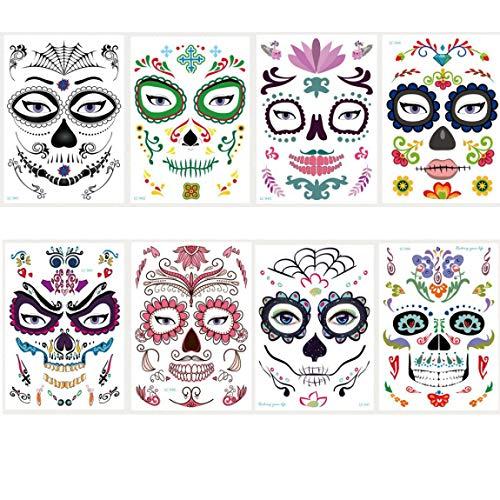Spestyle Halloween Tattoo Aufkleber 8 Stück Gesicht Aufkleber in 1 Paket, darunter alle Arten von schrecklichen Halloween Tattoos Designs.