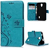 Huawei Y635 Funda Carcasa PU Cuero(Azul) - MAXFE.CO Flip case,Cierre magnético,Soporte Plegable,Ranuras de Tarjetas con el diseño de Mariposa y Flores