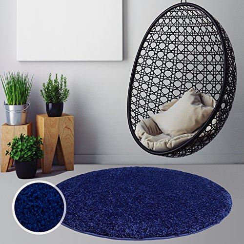 Myshop24h.de tappeto rotondo a pelo lungo shaggy, tinta unita, per soggiorno, cucina, colori, blu, 120 x 120 cm rund