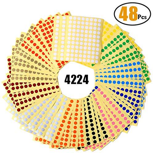 Witasm etichette adesive colorate etichette autoadesive rotonde 8mm 48 fogli 16 colori punti adesivi dot 4224 pz.