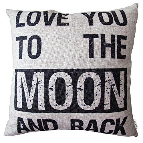 Elviros Dekorativ Baumwoll Leinen Mix Kissenbezug 45 x 45cm-Love You to the Moon and Back
