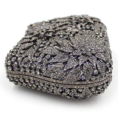 Santimon Clutch Delle Donne Flore Foglia Borsa Di Strass Diamante Cristallo Da Festa di Nozze Sera Con Tracolla Amovibile e Pacco Regalo 3 Colori nero