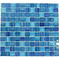 Mosaikfliesen Fliesen Mosaik K/üche Bad WC Wohnbereich Fliesenspiegel Quadrat Crystal blau 8 mm Neu #K764A