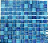 Fliesen Mosaik Mosaikfliese Küche Bad Quadrat Crystal blau Küche 4mm Neu #143
