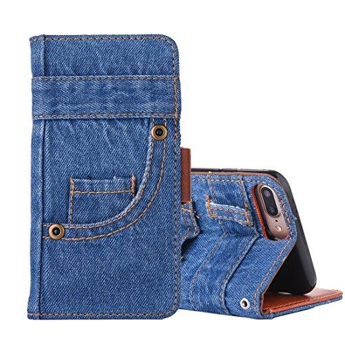 XACQuanyao Schutzhülle für iPhone 8 Plus/iPhone 7 Plus, Denim, Textur, horizontal, Leder, mit Fächern für Karten und Geldbörse -