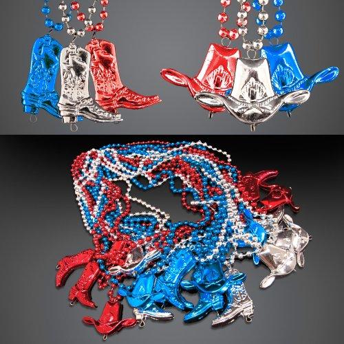 Set von 12Rot Weiß & Blau Cowboy Stiefel und hat Perlen Halsketten